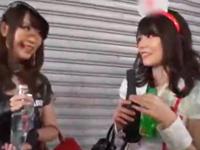 渋谷ハロウィンにてナンパしたコスプレ素人娘2人とホテルパコ