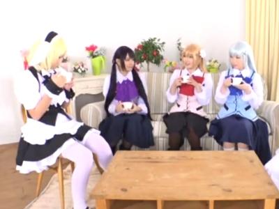 「またイッちゃうよぉ」美少女コスプレイヤー達と撮影会で大乱交!